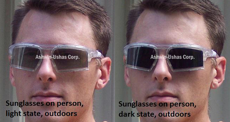 Sunglasses prototype without prescription insert, typical light/dark contrast